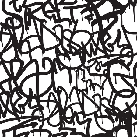 Graffiti background seamless pattern. Vector Tags, writing. Graffiti hand style, old school. King of style, street art texture. Monochrome black and white colors