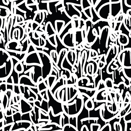rebellious: Graffiti background seamless pattern. Vector Tags, writing. Graffiti hand style, old school. King of style, street art texture. Monochrome black and white colors Illustration