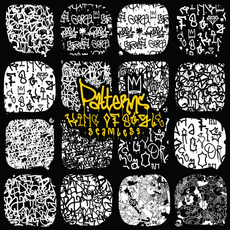 urban street: Big set of seamless patterns, graffiti style, king of style in black and white colors. The set consists of 16 original calligraphy compositions
