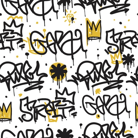 Original youth seamless patterns, repeating image pattern on any items, T-shirts, wallpaper, curtains. Monochrome black white gray and accent colors of yellow