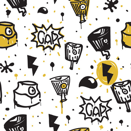urban youth: Original urban youth seamless patterns, repeating image for using pattern on any items, T-shirts, wallpaper, curtains. Themes of graffiti, street art. Accent yellow spots