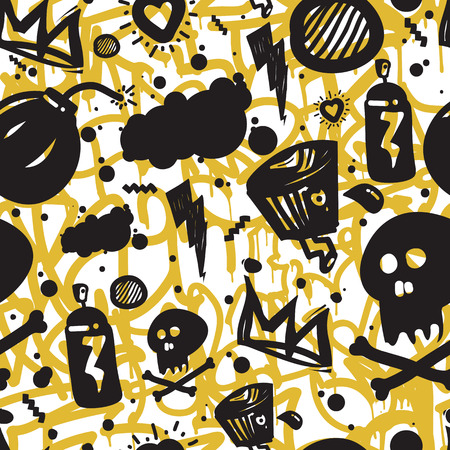 Original urban youth seamless patterns, repeating image for using pattern on any items, T-shirts, wallpaper, curtains. Themes of graffiti, street art. Accent yellow spots