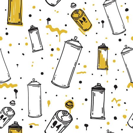 manos sucias: Graffiti negro gráfico bosquejo de dibujos animados para latas de aerosol, la ilustración boceto del vector del grunge. sin fisuras vector patrón de colores en negro, blanco, amarillo Vectores