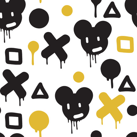 bombing: Original urban youth seamless patterns, repeating image for using pattern on any items, T-shirts, wallpaper, curtains. Themes of graffiti, street art. Accent yellow spots
