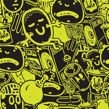 元青年シームレスなパターンは、パターンを任意のアイテム、t シャツ、壁紙、カーテンに使用するイメージを繰り返します。緑と黒の色