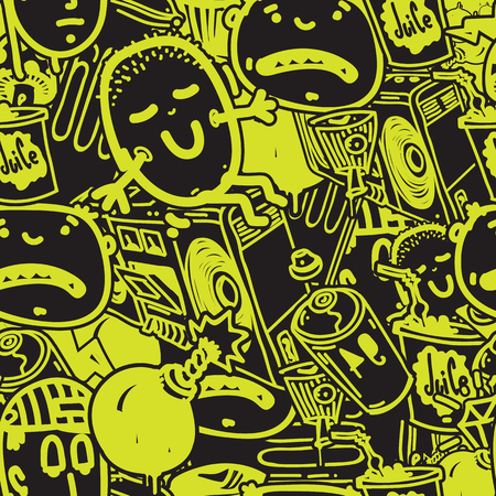 Original youth seamless patterns, repeating image for using pattern on any items, T-shirts, wallpaper, curtains. Green and black colors 矢量图像