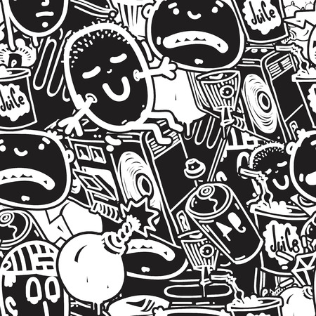 Original youth seamless patterns, repeating image for using pattern on any items, T-shirts, wallpaper, curtains. White and black colors