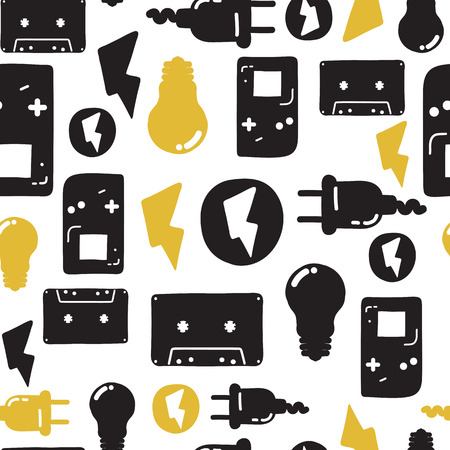 black youth: Original youth seamless patterns, repeating image for using pattern on any items, T-shirts, wallpaper, curtains. White black and yellow colors Illustration