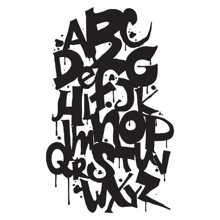 abecedario graffiti: Alfabeto. Dibujado a mano las cartas. Letras del abecedario