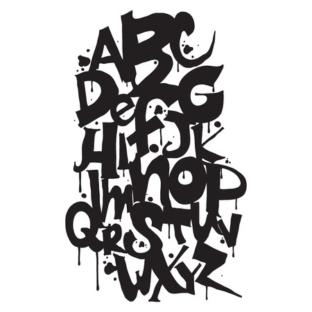 alfabeto graffiti: Alfabeto. lettere disegnato a mano. Lettere dell'alfabeto