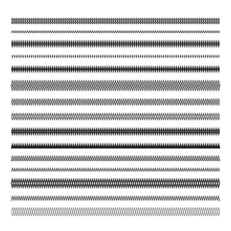 Underlines. Simple zigzag lines. Geometric decorative elements for design