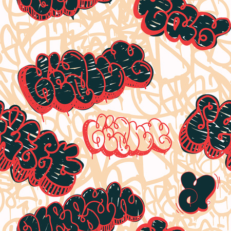 skate board: Colorful seamless pattern. Graffiti hand style old school doodles street art illustration. Composition with tags, signs, elements for skate board, street clothing streetwear wallpapers textile fabric
