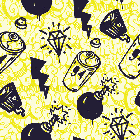 bombing: Original urban youth subculture seamless patterns, repeating image for using pattern on any items, T-shirts, wallpaper, curtains. Themes of graffiti, street art. Yellow bombing throw up background Illustration