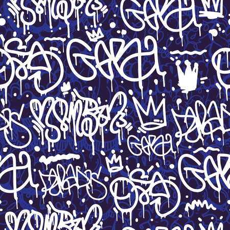 throw up: Original youth seamless patterns, repeating image pattern on any items, T-shirts, wallpaper, curtains. accent colors of blue, white