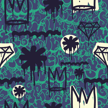 tagging: Original youth seamless patterns, repeating image pattern on any items, T-shirts, wallpaper, curtains. accent colors of blue, green Illustration