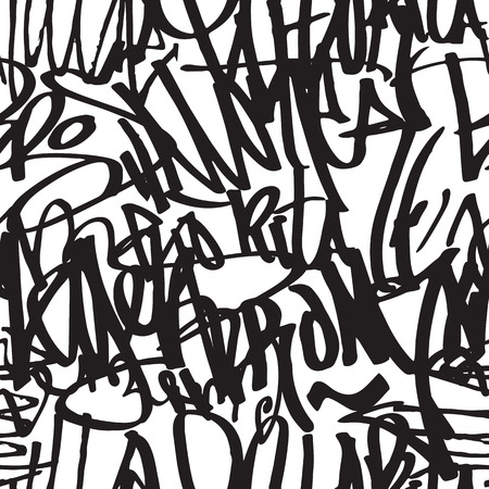 Graffiti background seamless pattern. Vector Tags, writing. Graffiti tagging hand style, old school. King of style, street art texture. Monochrome black and white colors