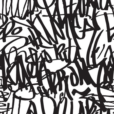 Tła bezszwowych tłem Graffiti. Wektor Znaczniki, pisanie. Graffiti tagowanie stylu ręcznym, stara szkoła. Król styl, tekstura ulicy art. Monochromatyczne czarno-białe kolory