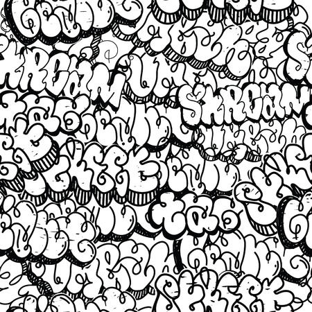 rebellious: Graffiti background seamless pattern. Vector Tags, writing. Graffiti tagging hand style, old school. King of style, street art texture. Monochrome black and white colors