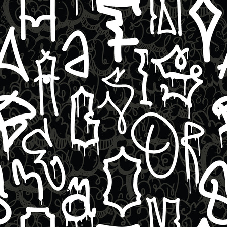tagging: Old school graffiti background seamless pattern. Graffiti tagging handstyle. Contrast monochrome black and white colors