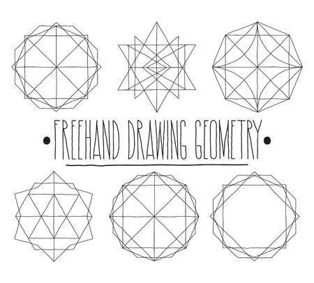 trabajo manual: geometr�a grupo dibujo a mano alzada. aislado figura blanco y negro geom�trica simple con la frase de trabajo hecho a mano