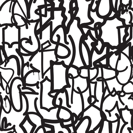 alfabet: Vector tags seamless pattern in black, white colors. Fashion graffiti hand drawing texture, street art, abstract. For t-shirt, textile, wrapping paper Illustration