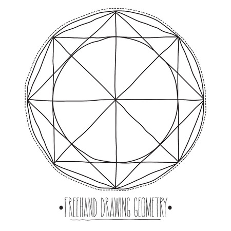 trabajo manual: Freehand drawing geometry. Simple isolated geometric figure with white background and handwork phrase Vectores