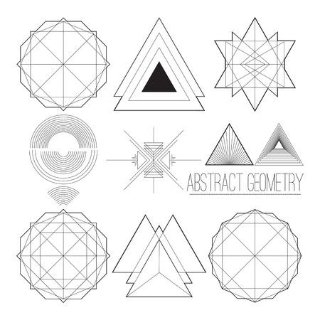 sencillo de colección con las figuras abstractas geométricas, líneas, círculo, polígono, fuente trabajo hecho a mano