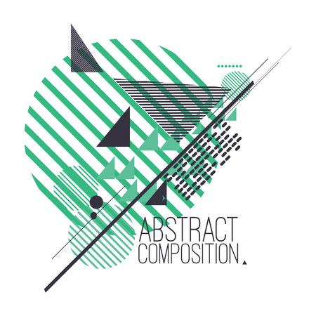figuras abstractas: Composición abstracta con las figuras geométricas de colores simples, símbolos matemáticos, fondo de arte