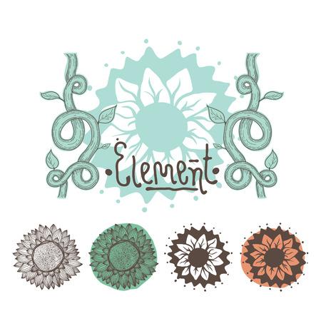 vegetal: Group of vegetal decorative ornaments for posters, greeting cards, background, others Illustration