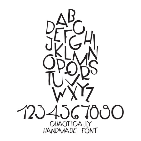 holey: Chaotically handmade fon composition, alphabet. Hand drawn decorative letters, black