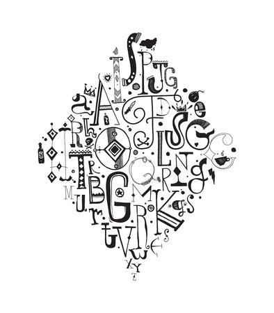 fond: Fond composition, alphabet. Hand drawn decorative letters, elements, black