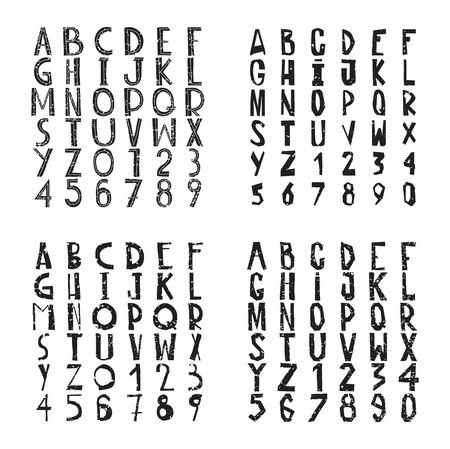 scrawl: Rough grungy decorative fonts collection, scratch, scrawl Illustration