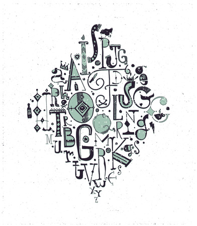 Fond composition, alphabet. Hand drawn decorative letters, elements, green, black
