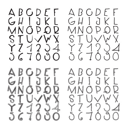wobbly: Wobbly rough grungy basic fonts collection Illustration