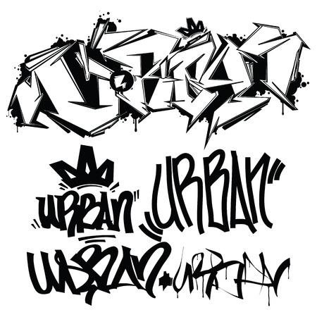 Urban typografie graffiti-tags Vector Illustratie