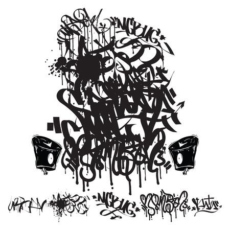 grafiti: Graffiti marker tags - writing, grunge background Illustration