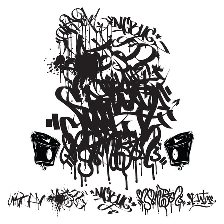 Graffiti marker tags - writing, grunge background Illustration