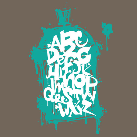 aerosol can: Graffiti modern art print, decorative letters on the background aerosol can
