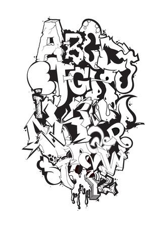 Graffiti carattere arte moderna, lettere decorativi sullo sfondo Vettoriali