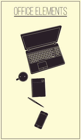 stationery items: Office table with stationery items Black and White Illustration