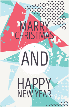marry christmas: Happy new year and marry christmas card grunge