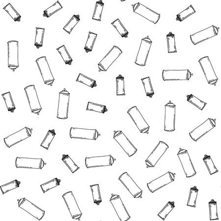 bombing: Graffiti black graphic spray can cartoon doodle, sketch grunge vector illustration. Seamless vector pattern