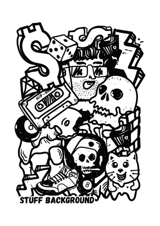 Graffiti vector stuff background sticker poster Colorful Doodle pattern in  black and white color. Used clipping mask for easy editing. Illustration