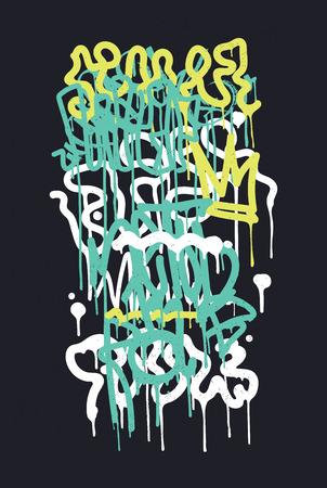 ベクトルのファッションのグラフィティ フォント。モダンな手描きのレトロなスタイルのフォント テクスチャ、白、緑、黒、青でデザイン要素