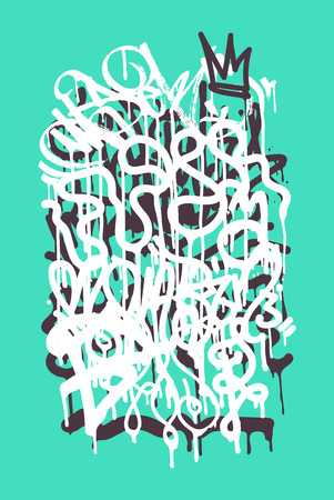 Vector fashion graffiti font. modern hand drawing retro style font texture, design elements in white, green, black, blue