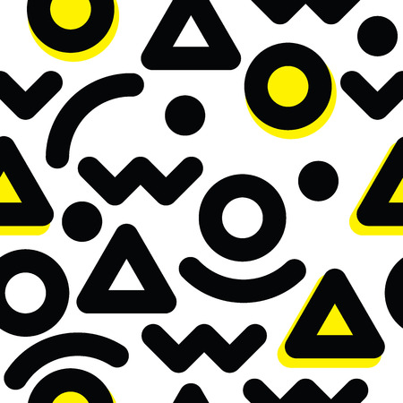 equals: Universal vector seamless pattern, hand-drawn doodles, flat geometric creative, mathematics figures in black and white with yellow circle