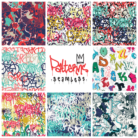 alfabet: Big set of seamless patterns, graffiti style, king of style. Original youth seamless patterns, repeating image for using pattern on any items, T-shirts, wallpaper, curtains Illustration