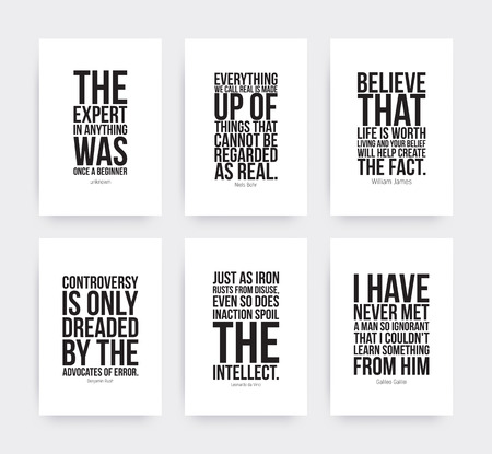 Inspirational motivating quotes set. Business poster in black an white. Simple Vector Typography Poster Concep in Flat Style 矢量图像