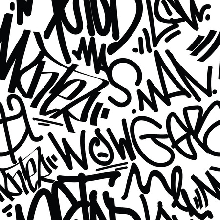 tags seamless pattern. Fashion graffiti drawing texture, street art retro style, abstract, vintage design for t-shirt, textile, wrapping paper in black, white