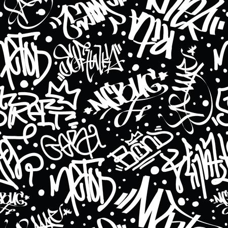 tags naadloze patroon. Mode graffiti tekening textuur, straat art retro stijl, abstract, vintage ontwerp voor t-shirt, textiel, papier in zwart, wit
